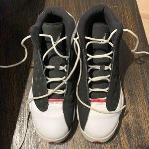 Pink, black and white Jordan's